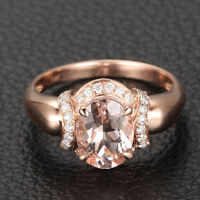 Oval Cut 6x8mm VS Morganite H/SI Diamonds 14K Rose Gold Engagement Wedding Ring