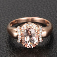 14K Rose Gold Engagement Wedding Ring Oval Cut 6x8mm Vs Morganite H/Si Diamonds