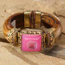 New Tara Mesa Pink Drusy Quartz & Bone Bangle Bracelet
