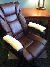 "15"" long Pair Merino Sheepskin Armrest Pads for Office & Wheel Chairs, Rockers"