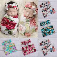 Newborn Baby's Floral Swaddle Wrap Swaddling Sleeping Bag Blanket Headband Set