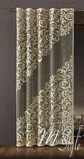 Long Net Curtain SINGLE Panel Slot Top Beige Pattern on black warp Ready Made