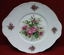 """ROYAL COURT England ROSE BUDS pattern ROUND Handled CAKE Serving PLATE 10-1/4"""""""