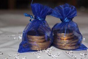 70 x ROYAL BLUE ORGANZA BAGS WEDDING TABLE DECORATION 7cm x 9cm UK SELLER