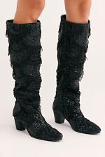 New Free People Women's Black Disco Party Tall Boot sz 39