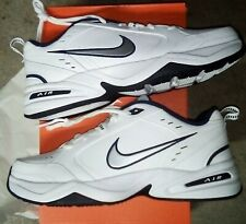 Nike Air Monarch Iv White, Silver, Navy Mens Training Sneakers Tennis Shoes 13