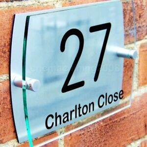 House Door Number Plaque Gate Wall Sign Name Plate Glass Acrylic Aluminium