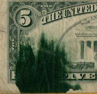 1977 $5 SEVERE INK SMEAR ERROR - VERY FINE