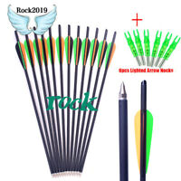 "6/12x Archery 20""Carbon Arrows with 4inch vanes Feather and 125 Grain for Huntin"