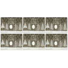 Pimpernel Wooden White Christmas Placemats Set of 6 Festive Dinner Table Mats
