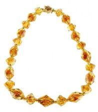 """VINTAGE GORGEOUS GIVRE GLASS TOPAZ CITRINE CARVED GEOMETRIC BEADS NECKLACE 17"""""""