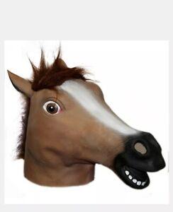 HORSE HEAD MASK CREEPY HALLOWEEN COSTUME THEATER PROP NOVELTY