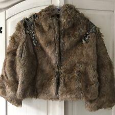 Jarlo Faux Fur Luxury Celeb Embellished Crop Style Jacket Coat UK 10