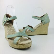 TOMS Women Clarissa Strappy Wedge Sandal Ankle Blue Suede Shoes Comfort 9.5