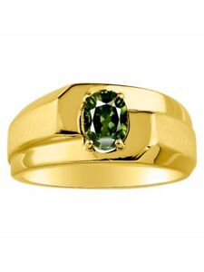 Solitaire Genuine Natural Green Sapphire Set in 14K Yellow Gold MR2928GSY-C