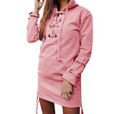 Women Lace Up Casual Long Sleeve Hoodie Sweatshirt Jumper Pullover Tops Coats US