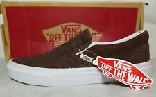 Vans Classic Slip On Suede Check Crocodile Brown Chestnut Shoe Men 6.5 , Women 8