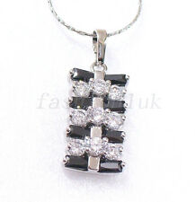 White Gold Plated Clear Simulated Diamond Check Design Necklace Pendant & Chain