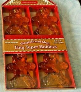 SALE! christmas williams sonoma gingerbread man tiny taper glass holders lot  8