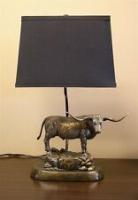 University of Texas Longhorn Lamp Bronze Patina Desktop Statue Tim Wolfe UT