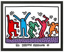 Keith Haring DANCING MEN Framed 16x20 Giclee Pop Art Print **SALE