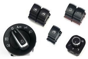 For VW Passat 3C CC Aluminium Matt Window+Light+Mirror+Gas Fuel Tank Door Switch