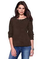 Ladies Embellished Neckline Fluffy Soft Warm Fleece Jumper Black Brown Grey