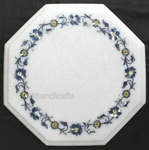 12 Inches Marble Coffee Table Top Inlay Work Bed Side Box with Shiny MOP Art