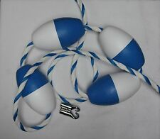 """16' X 3/4"""" Blue & White Twisted Safety Rope With Floats & Hooks / Swimming Pool"""