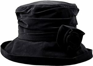 Proppa Toppa Waterproof Velour hat with detatchable Flower - Black