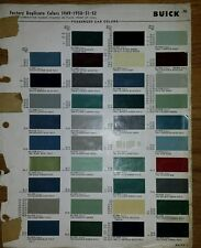 1949 52BUICK Paint Colors Chip Page Chips sheet code chart samples gm factory