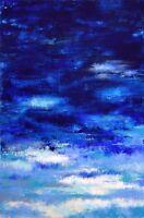 """Peinture Paysage marin Tableau abstrait original signé HZEN, """"SEPTENTRION"""" 70x90"""