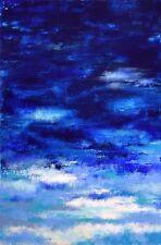 """TABLEAU ABSTRAIT ORIGINAL SIGNÉ, Peinture de H.Zen PAYSAGE """"SEPTENTRION"""" 70x90cm"""