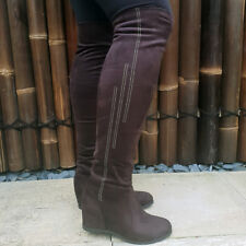7fcf07e8a825 WEDGE heel OVER THE KNEE Boots Womens Brown Diamante Stretch Faux Suede  Ladies
