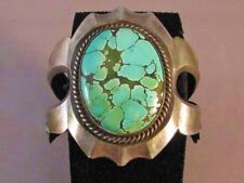 Vintage 1970 China Mountain Turquoise Sterling Silver Cement Cast Bracelet s7.5