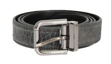 NEW $320 DOLCE & GABBANA Belt Gray Leather Silver Buckle Mens s. 85cm / 34in