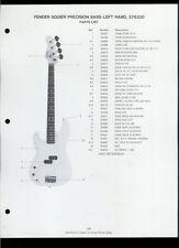 Orig Fender Squier Precision Bass Left Hand Guitar Dealer Sheet(s) Parts List