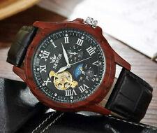 Automatik Uhr Herrenuhr Armbanduhr Schwarz Braun Mond Sonne 24 Std. Leder CH04