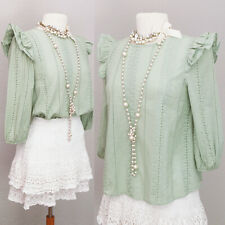 NEW Sage Green 100% Cotton Eyelet Embroidery Ruffle 3/4 Sleeve Pretty Blouse Top