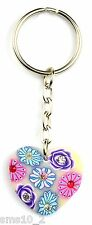 Hand-Made Floral Patterned Heart Keyring/Charm KR045