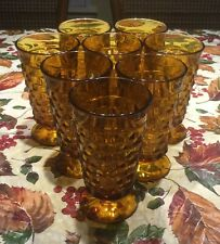8 Indiana Glass Amber Cubist Whitehall Colony 13oz Footed Ice Tea Water Glasses
