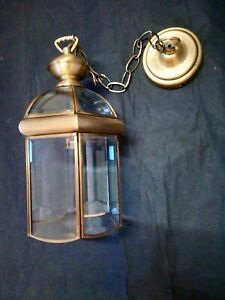Antique Style Pendant Ceiling Light, Brass Glass Dome Lantern Searchlight
