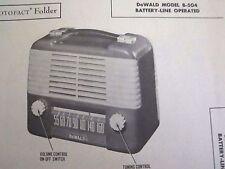 DEWALD B-504 PORTABLE RADIO PHOTOFACT