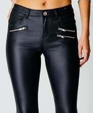 New Women 3 Zip Skinny Leather Look Black High Waist Jeggings Sizes 6 8 10 12 14