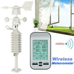Wireless Weather Station Clock RF 433mhz Wind Speed Direction Temperature Sensor
