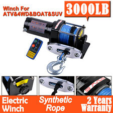 3000LBS/1361KG Electric Winch 12V Synthetic Rope Wireless Remote ATV 4x4WD Boat