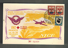 1947 Nice France postcard Cover Aviaton Meeting Air Club Exposition