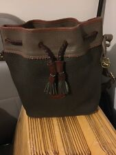 Vintage Dooney & Bourke OLIVE Leather Bucket Bag Pebble Grain Drawstring Purse