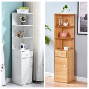 3 Shelf 1 Drawer Slim Corner Cabinet Cupboard Storage Table Bathroom/Living Room