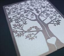 60 sets Laser Cut Tree and love birds  Wedding Invitation Card Gatefold style